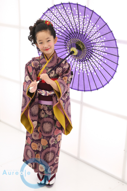 藤代工房 七歳着物 紫華舞-2