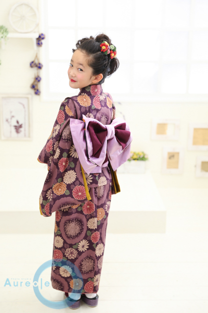 藤代工房 七歳着物 紫華舞-3