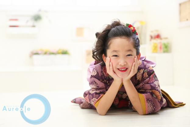 藤代工房 七歳着物 紫華舞-4
