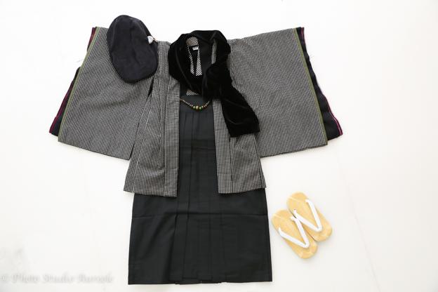藤代工房 男の子着物 黒チェック-1