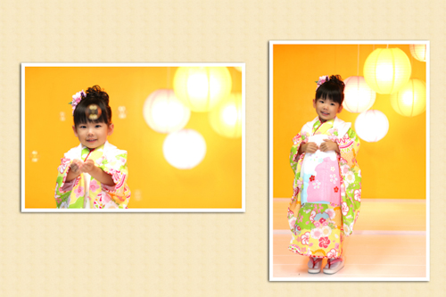 式部浪漫 三歳着物 黄色-1