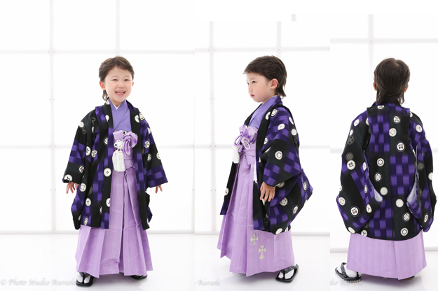 式部浪漫 男の子着物 紫-1