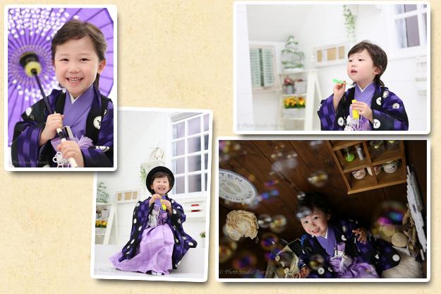 式部浪漫 男の子着物 紫-2