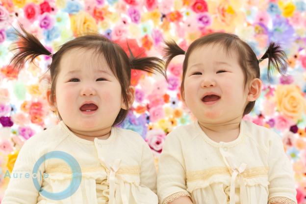 双子ちゃん1歳誕生日写真|Miranちゃん&Uranちゃん